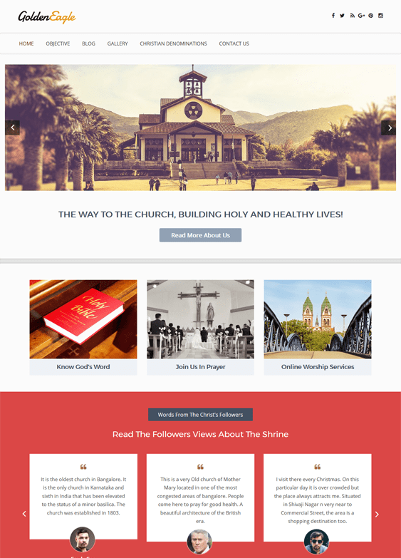golden eagle church religious wordpress themes