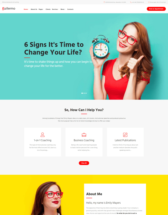 guillermo life coach wordpress themes