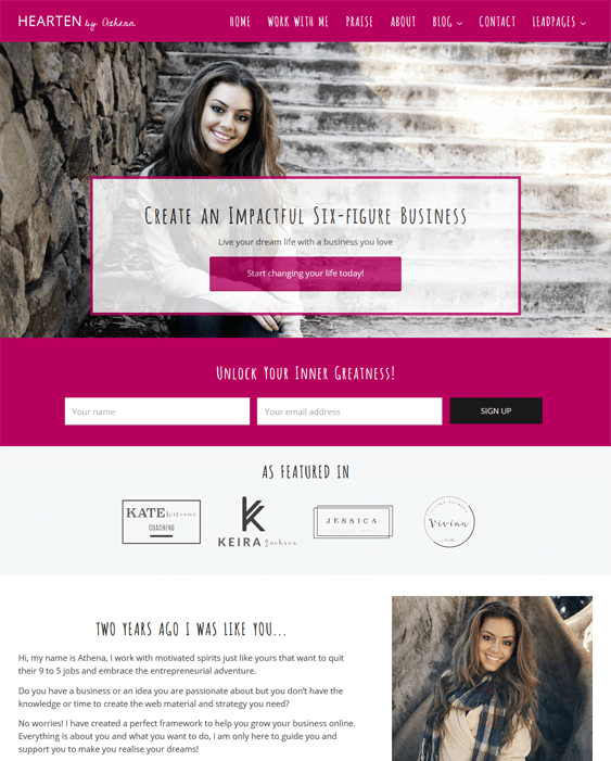 hearten life coach wordpress themes