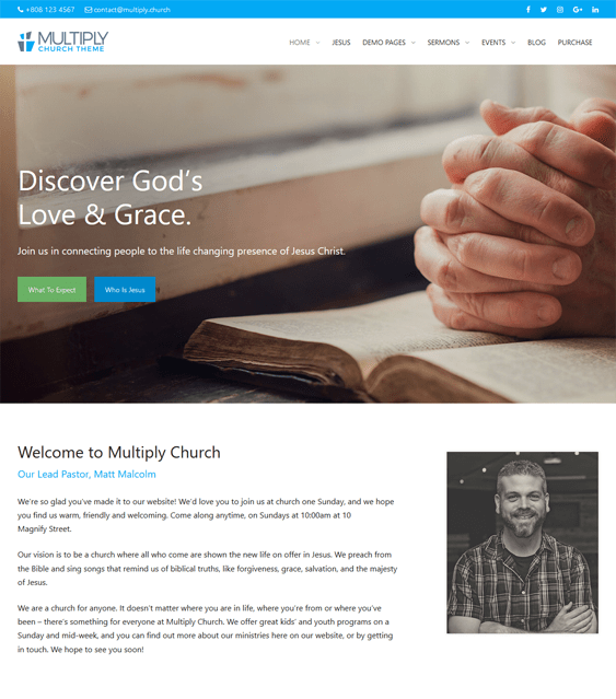 multiply church religious wordpress themes