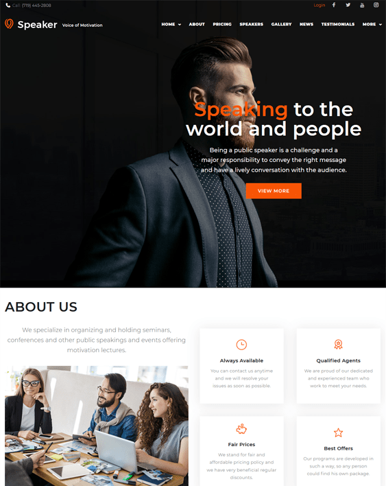 speaker life coach wordpress themes