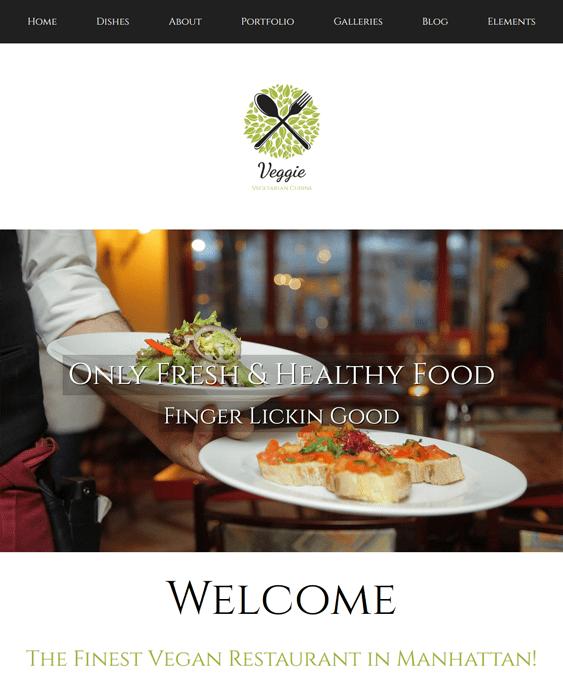 veggie restaurant wordpress themes