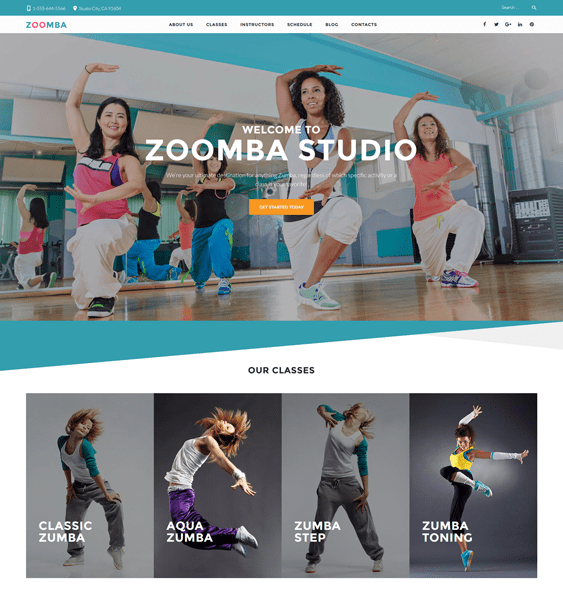 zoomba WordPress theme for dance schools, classes, and studios