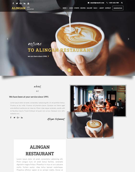 alingan bakery restaurant wordpress themes