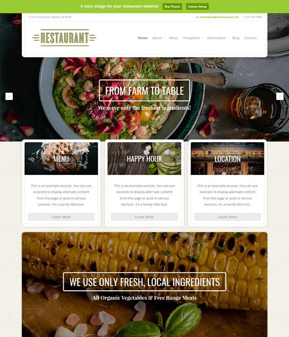 restaurant green eco-friendly organic wordpress themes