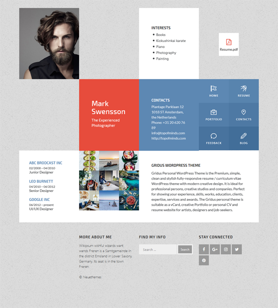 mark cv resume wordpress themes
