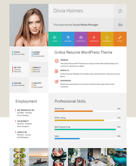 olivia cv resume wordpress themes