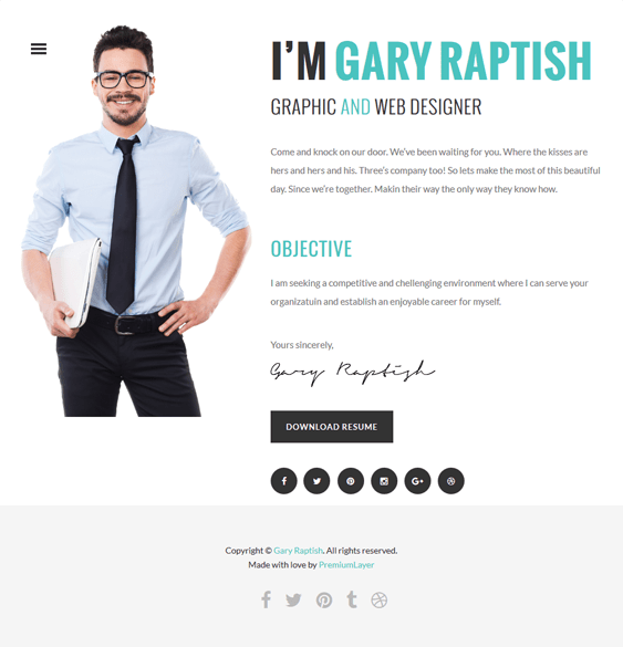 raptish cv resume wordpress themes