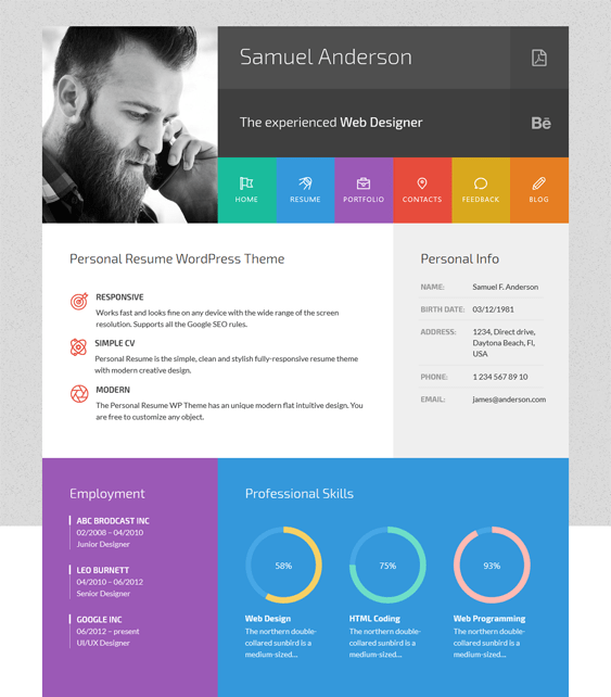 samuel cv resume wordpress themes