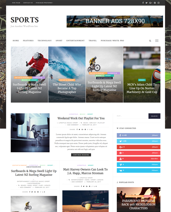 writepro sports wordpress themes