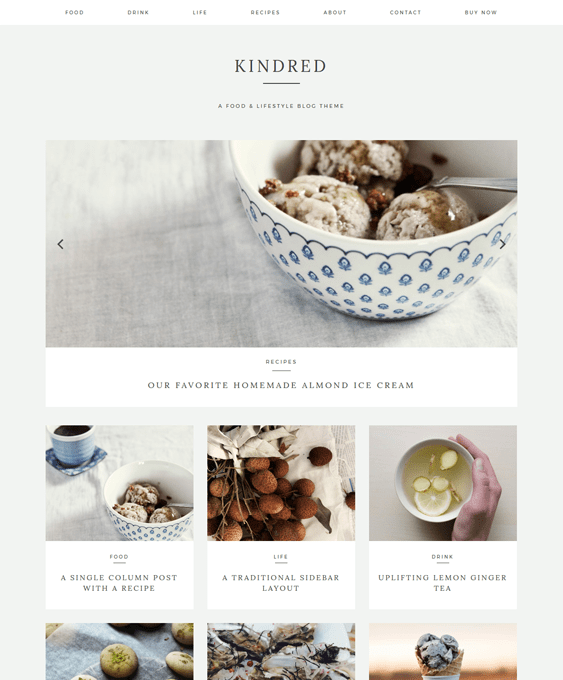 kindred food recipe wordpress themes