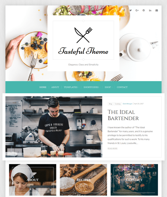 tasteful food recipe wordpress themes