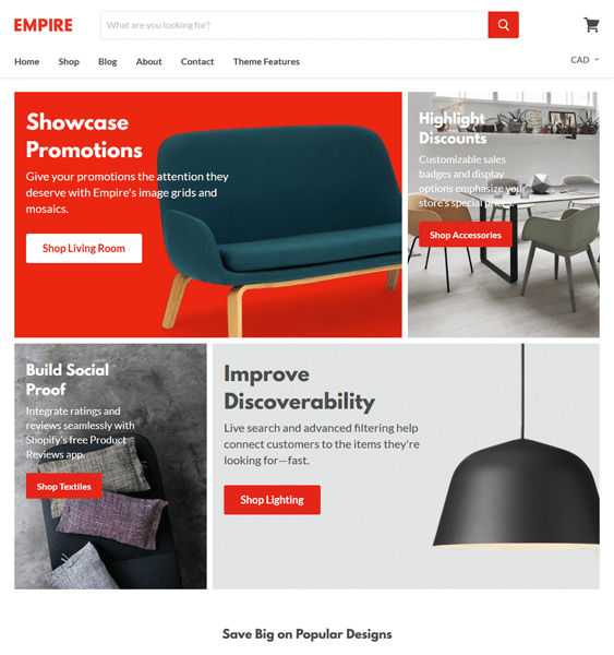 empire shopify themes furniture homewares