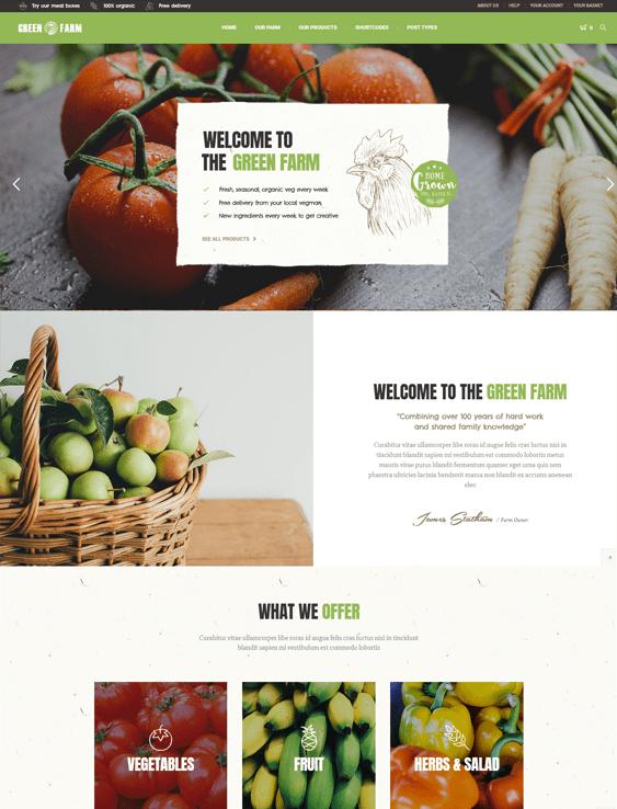 green farm food drink wordpress themes