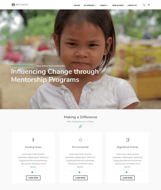method charity nonprofit wordpress themes