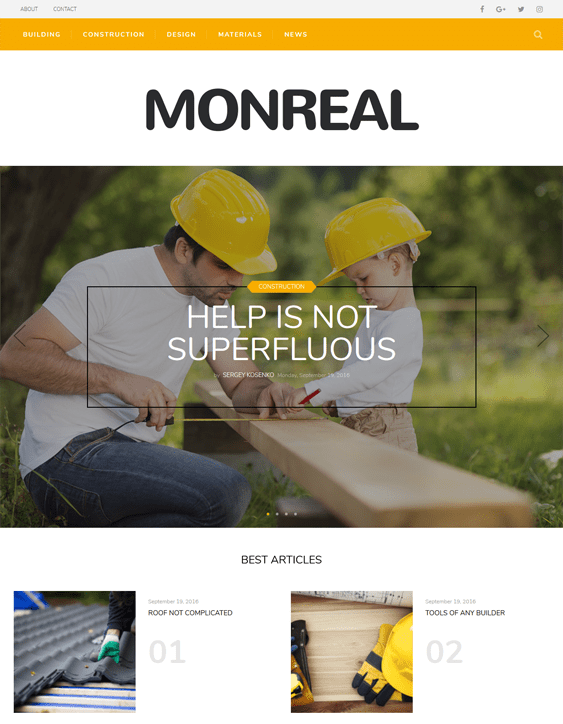 monreal contractor construction companies wordpress themes