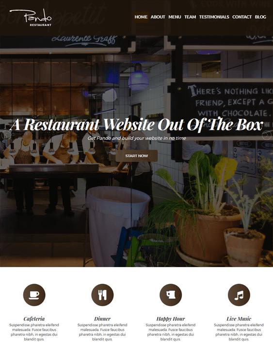 pando restaurant wordpress themes