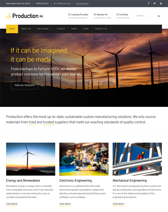 production contractor construction companies wordpress themes