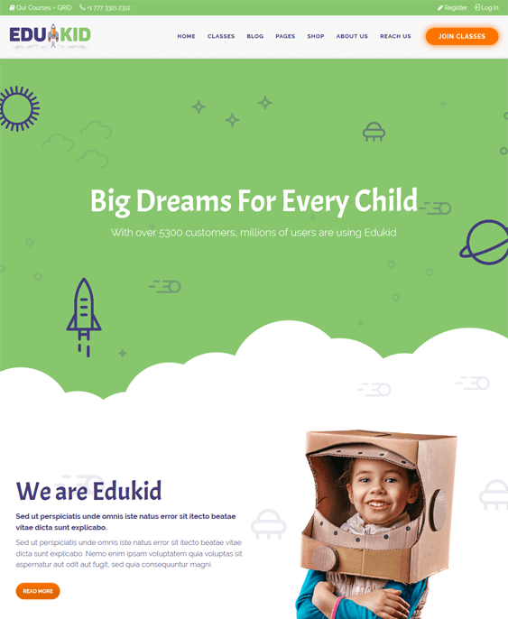 edukid education wordpress themes