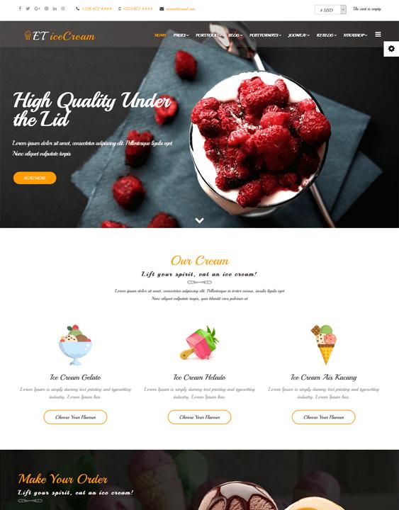 ice cream restaurant joomla templates
