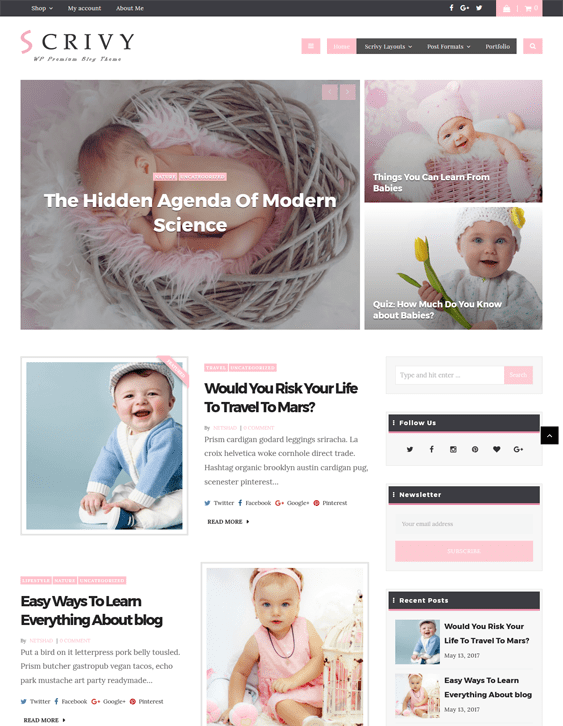 scrivy kids wordpress themes