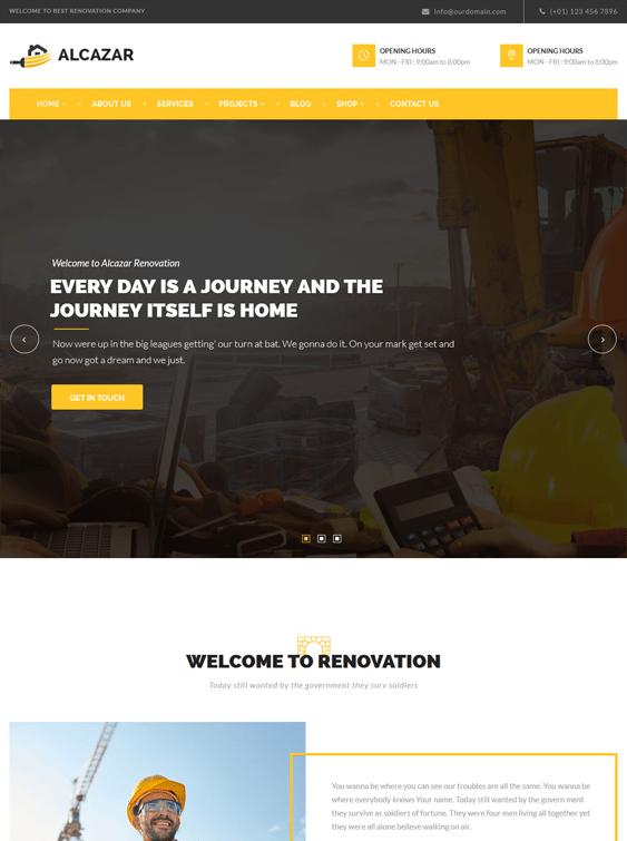 alcazar wordpress themes construction companies building contractors