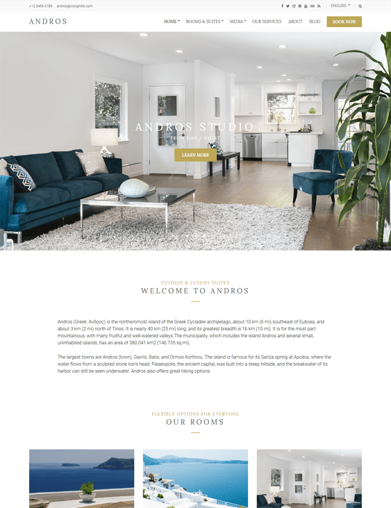 andros hotel wordpress themes