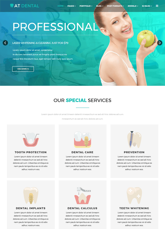 at dental medical Joomla template