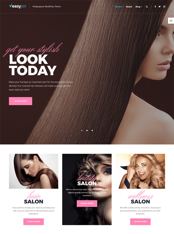 easyjet beauty salon spa wordpress themes