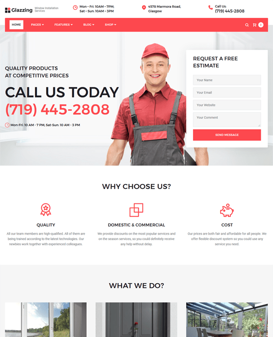 glazzing construction company building contractors wordpress themes