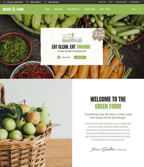 green farm agriculture wordpress themes
