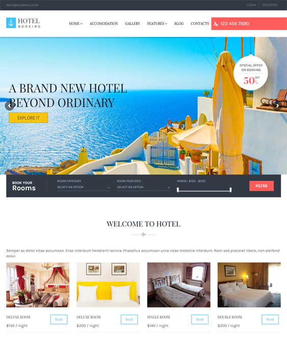 hotel wordpress themes booking