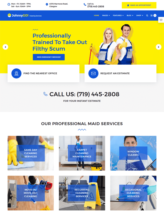 johnnygo wordpress themes maid cleaning companies