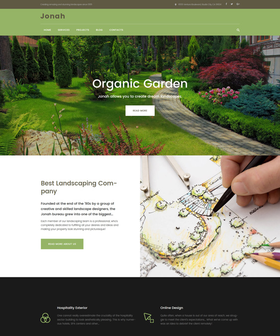 Jonah - Landscape Design and Lawn Mowing wordpress theme landscaping landscaper gardeners