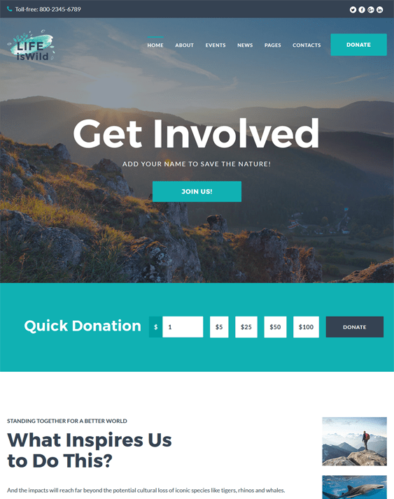 lifeiswild wildlife park charity wordpress themes