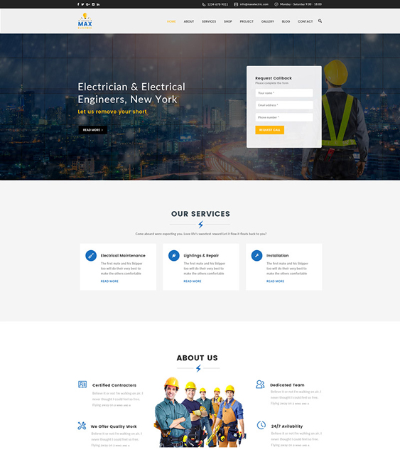 max electrician construction companies building contractors wordpress themes