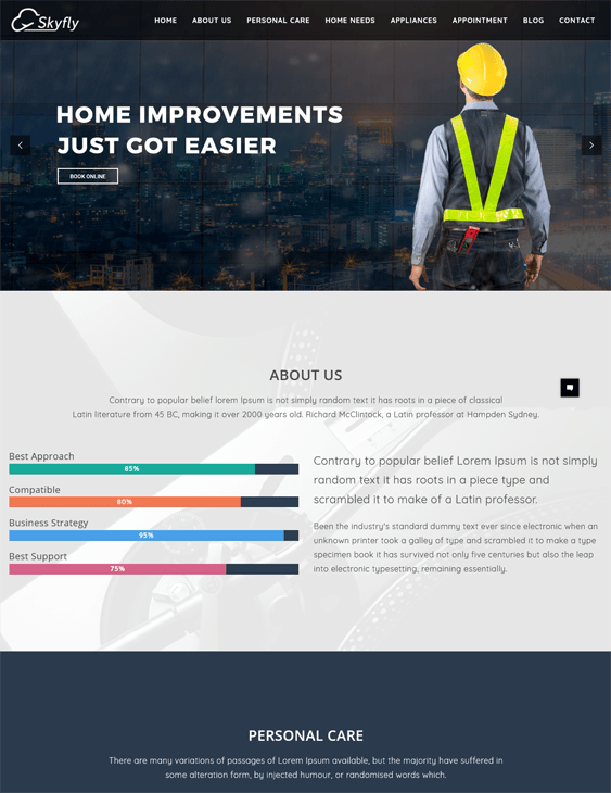 skyfly construction company building contractors wordpress themes
