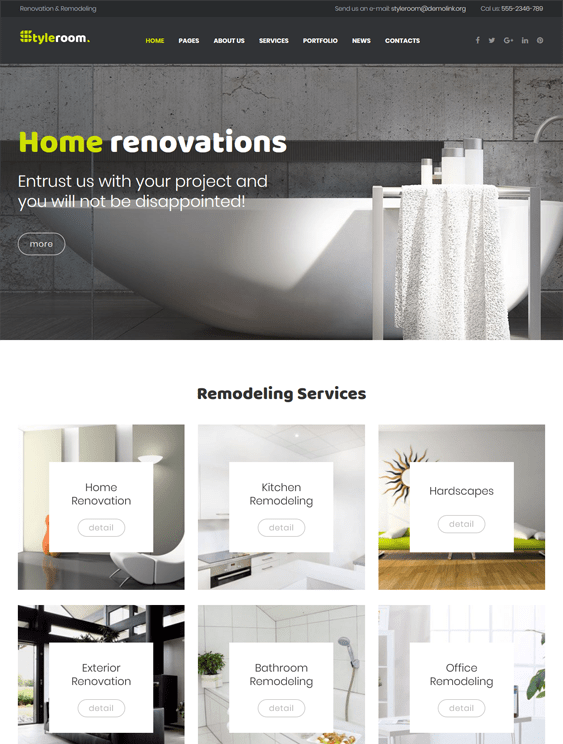 styleroom muse interior design wordpress themes