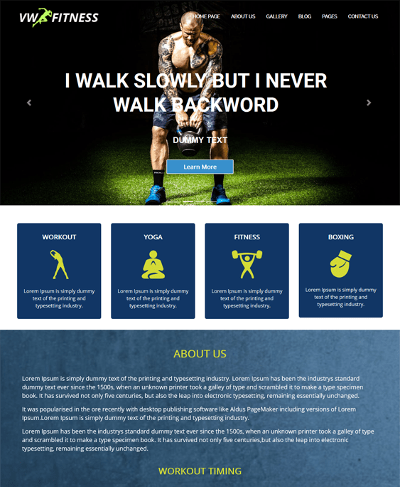 vw gym fitness wordpress themes