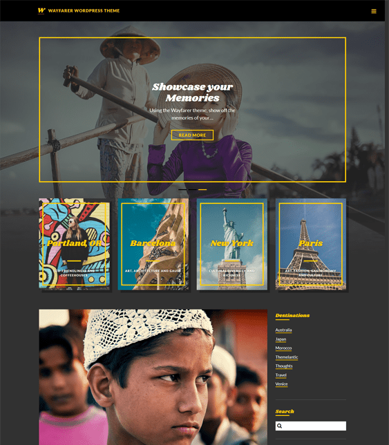 wayfarer travel wordpress theme
