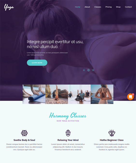 yoga studio wordpress themes