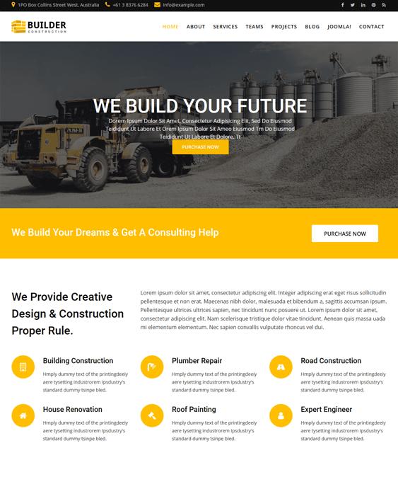 builder joomla templates construction companies building contractors