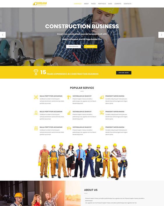 dream joomla templates construction companies building contractors