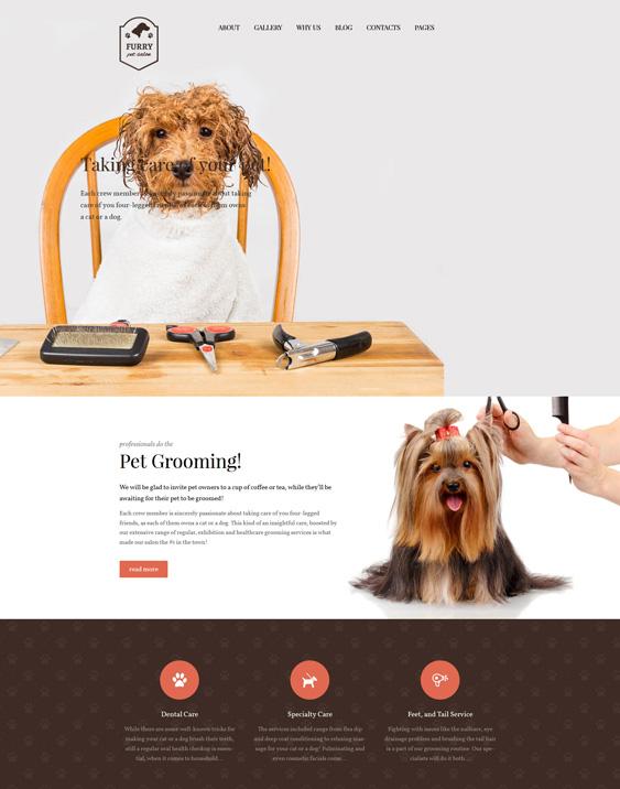 Furry - Pet Grooming pets vets wordpress theme