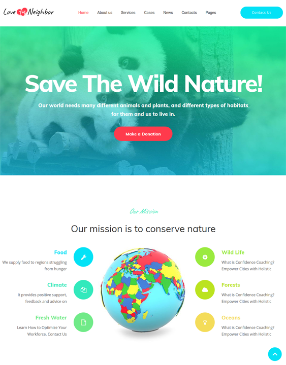 5 of the best wordpress themes for wildlife parks charities br love thy neighbor wildlife park charity wordpress themes maxwellsz