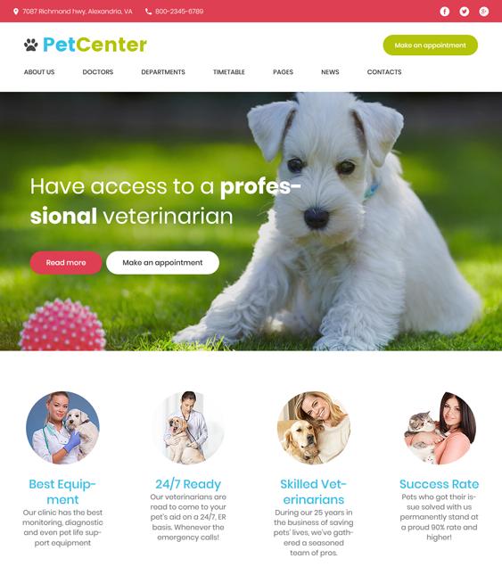 petcenter pets vets wordpress theme