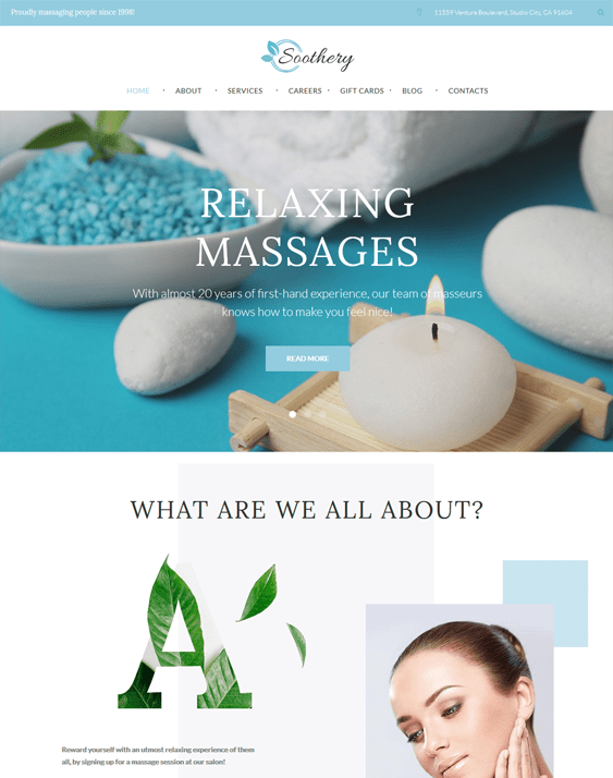 soothery wordpress themes beauty salons spas