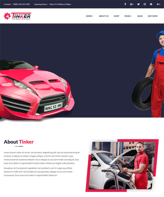 tinker car vehicle automotive wordpress themes