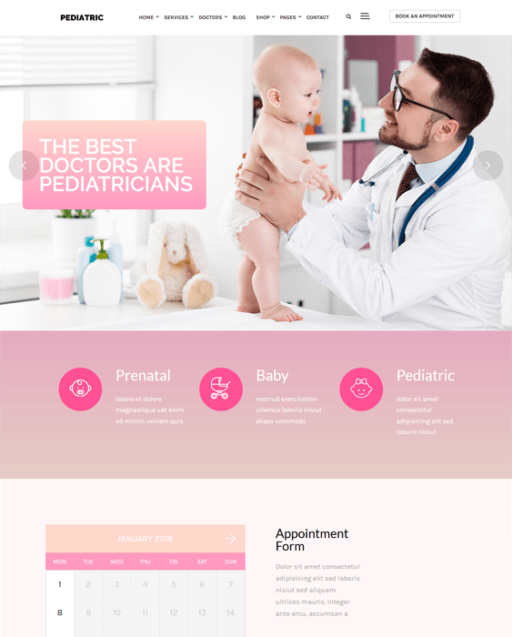 pediatricians pediatric clinics wordpress themes