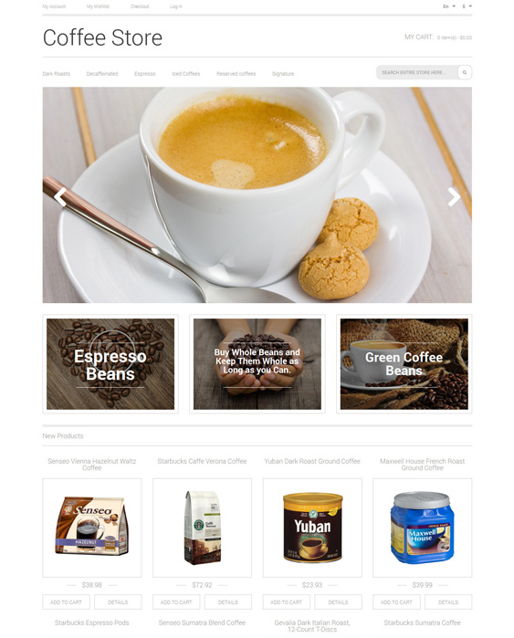 Coffee shop Aroma Magento Theme